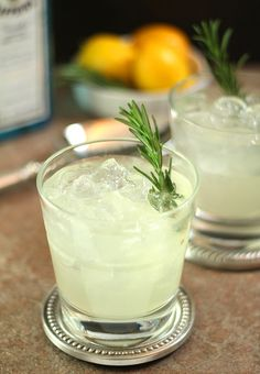 Ophelia cocktail. Gin, rosemary simple syrup, and lemon juice.