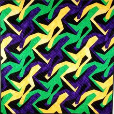 Mardi Gras Men.  A running man quilt.  Peace, Robert from nancysfabrics.com
