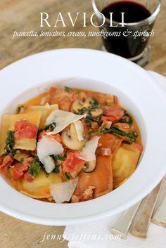 Ravioli  with pancetta, tomatoes, mushrooms, spinach & cream