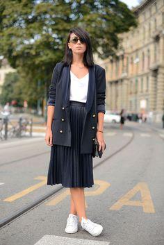 Pleated skirt + blazer + sneakers