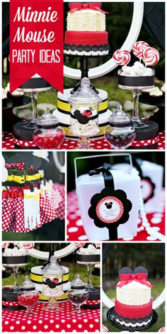 An incredible Minnie Mouse birthday party with fun favors, birthday cake and dress up! See more party ideas at CatchMyParty.com!
