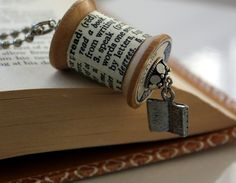dictionary art necklace