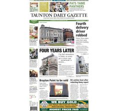 The front page of the Taunton Daily Gazette for Saturday, Aug. 23, 2014.