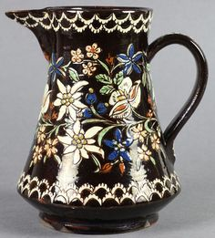 From A Private Collection … Antique Thoune Majolika Floral Decorated Jug 19th C