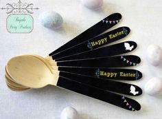Easter chalkboard personalised cutlery