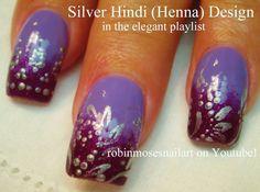 Silver Henna Nail Art