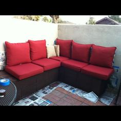 Cinder block and cedar outdoor couch; inexpensive alternative from Sisters and Stories: My First DIY- Outdoor Patio Furniture