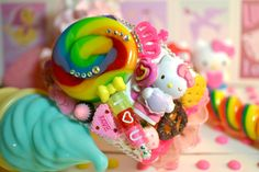 Lolli Lolli Lollipop Sweet Candy Festival Hello Kitty Cupcake I Heart You Kawaii Lolita Cuff Bracelet. $75.00, via Etsy.