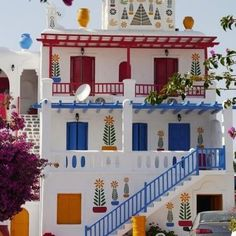 Mykonos Greece primary colors, mykonos, colorful houses, greece, buildings, travel, homes, place, design