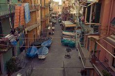 Le strade di Manarola. Liguria Italia.