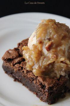Gluten Free German Chocolate Brownie Sundaes | http://www.theroastedroot.net
