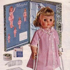 Just discovered she was marketed to encourage little girls with polio during the epidemic in the early 1950s…gives a whole other meaning to the crutches and the leg brace.  Marybel could also be decorated with spots for measles and chickenpox and also had an extra splint for a broken arm with Johnson sticking plaster to bind up the splint. Quite a doll….
