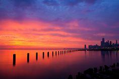 Chicago sunrise (Ken Koskela Photography).