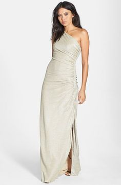 Laundry by Shelli Segal Foiled One-Shoulder Gown available at #Nordstrom