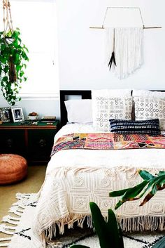 A fancy bohemian bed