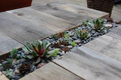 DIY Patio Table With Built-In Succulent Centerpiece / 'Succulent Centerpiece' also idea for Garden along walk-path