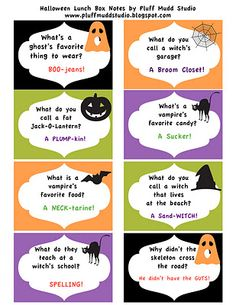 Pluff Mudd Studio: Halloween Lunch Box Notes: FREEBIE