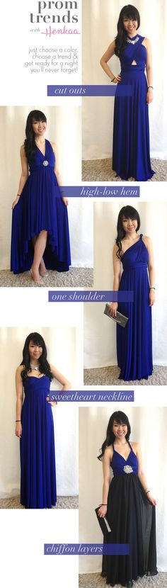 The biggest trends for prom and grad this year can all be achieved with one convertible dress! Just choose a color, choose a trend and wrap!
