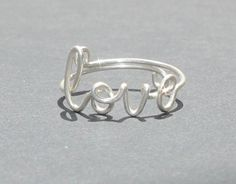 Wire Love Ring  Adjustable Fits Most Size  Fine by FabulousWire
