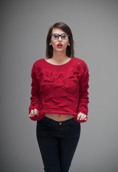 AQUA long sleeves sweater Customizable Unique Handknit