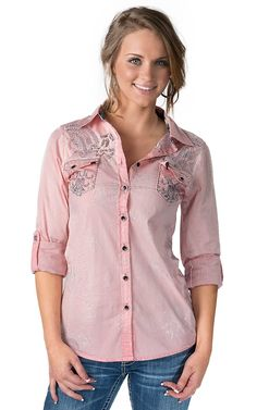 Roar® Women's Ikat Fight It Pink with Embroidery & Crystals 3/4-Long Sleeve Western Shirt