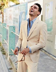 Khaki suit & gingham