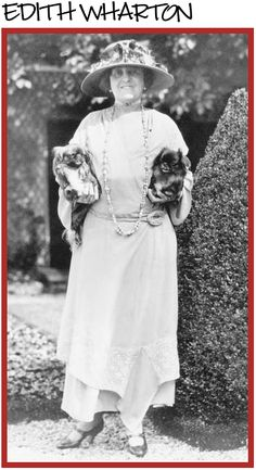 Edith Wharton with her Pekingese dogs.