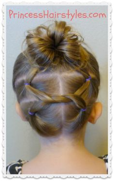 Pretty, toddler-friendly up-do from Princess Hairstyles. I did this on Lily for a wedding with great success and received several compliments on it. I did an extra knot and added a couple mini braids (mostly to keep the short hairs in check), but this is a great video tutorial.  I'll be pulling this hairstyle out again for sure.
