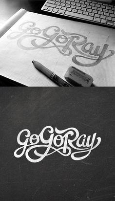 Go-Go Ray, Hand-Drawn Lettering - Typography - Creattica