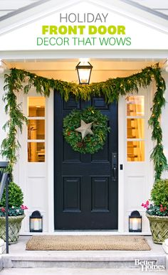 Dress up your front door with thirty of our fave front doors: http://www.bhg.com/christmas/outdoor-decorations/front-door-christmas-decorating-ideas/?socsrc=bhgpin112913frontdoordecorations