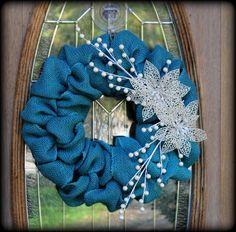 Blue Teal Burlap Christmas Winter Holiday Door by aKnackforDecor, $36.00