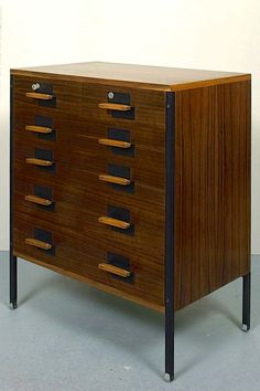 Ico Parisi; Walnut and Enameled Steel 'Positano' Chest of Drawers for MIM, 1958.