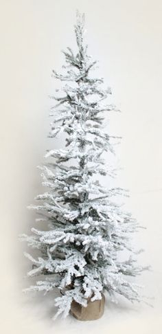 Flocked tree #burlap #snow #winter #Christmas