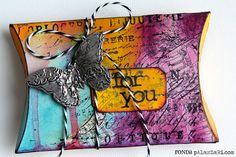 paint pillow, pillow box, gift, craft, boxes, tim holtz, ronda palazzari, pillows