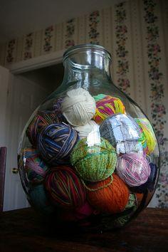 giant glass jar for yarn storage