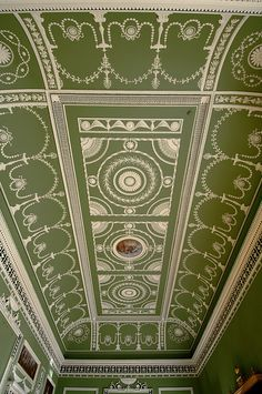 Plaster ceiling of the Eating Parlour, Headfort House, Kells, Ireland. Robert Adam designer/architect, late 1700s.