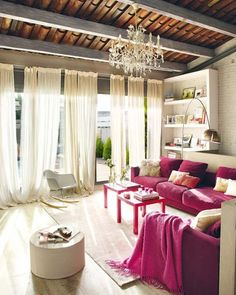 interior design, living rooms, couch, window, color, loft, beam, curtain, vintage decor