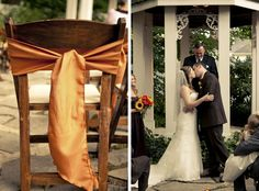 love the burnt orange chair sash!