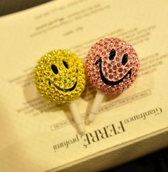 Smile Face Ear Cap with Rhinestone - Apple Accessories - Funny Gadgets Free shipping