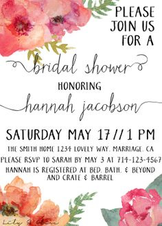 Watercolor Flowers Bridal Shower Invitation by LilyAndOliveDesigns, $20.00