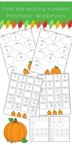 Preschool Number Worksheets - Find the Missing Number *Fall Edition -