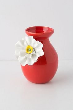 White Poppy Vase | $20.00 #Home #Decor #Design #Decorating | Visit WISHCLOUDS.COM for more...