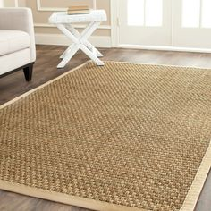 Hand-woven Sisal Natural/ Beige Seagrass Rug (8' x 10') | Overstock.com  To go under dining room table?