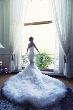 Preston Bailey Bride Ideas, feather wedding dress, long wedding dress