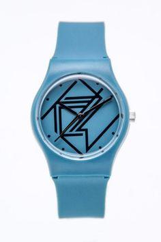 Graphic blue/black watch