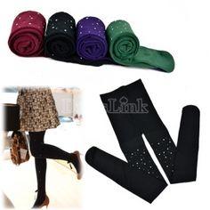 US$ 2.60 Fashion Woman Rhinestone Polka Dot Velvet Leggings Spandex Warm Winter Crop