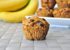 Pumpkin muffins made with whole grains and no processed sugar.  These are under 200 calories and taste delicious!
