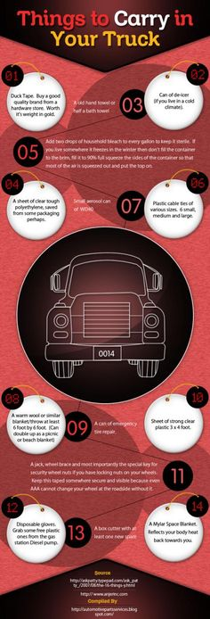 LIKE Progressive Truck Driving School: www.facebook.com/... #trucking #truck #driver  This infographic contains information about all the important stuff that a truck should always carry.