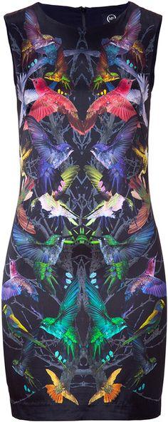 MCQ ALEXANDER MCQUEEN Black Humingbird Print Sleeveless Silk Dress - Lyst
