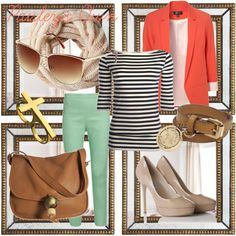 Coral jacket, contrasted with stripes, mint green. With flats instead of heels